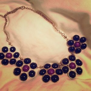 Purple and black flower statement necklace